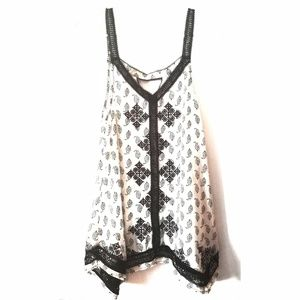 Lucky Brand Embroidered Trapeze Tunic Tank